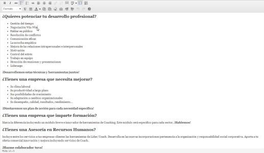 Gestor de contenidos - Editor de texto a pantalla completa