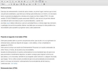 Editor de contenidos a pantalla completa